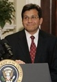 Alberto Gonzales, was the 80th United States Attorney General, appointed by President George W. Bush, becoming the highest-ranking Hispanic-American in Executive Branch government to date.[124]