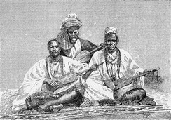 Griots of Sambala, king of Médina (Fula people, Mali), 1890