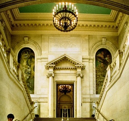 Flanking the Memorial Rooms' entrance, murals by Sargent honor World War I dead.