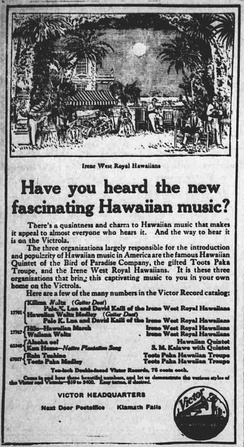 A 1916 advertisement for Hawaiian music records from Victor Records.