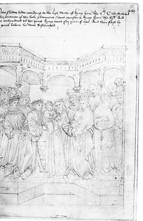 Henry VI, aged nine months, is shown being placed in the care of the Earl of Warwick