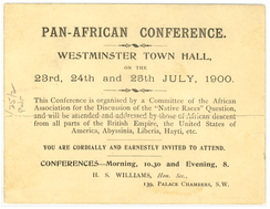 Invitation to Pan-African Conference at Westminster Town Hall, London, July 1900
