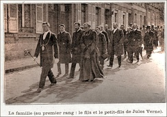 Jules Verne Funeral Procession, headed by his son and grandson, 1905