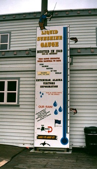 Ketchikan's Liquid Sunshine Gauge. The town experienced record annual rainfall in 1949, with 202.55 inches (5,144.77 mm) measured.