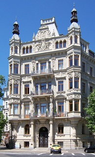 Historicist building by Arwed Roßbach in Leipzig, Germany (1892)