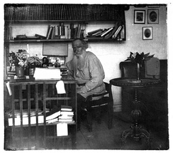 Tolstoy in his study in 1908 (age 80)