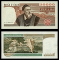 20,000 lire – obverse and reverse – printed in 1975