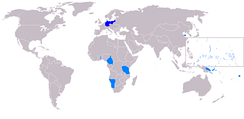 German colonies (light blue) were made into League of Nations mandates.