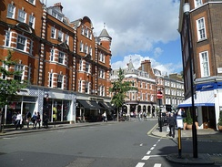 Bricks and mortar retail shops on Marylebone High Street, London