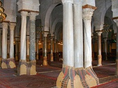 Reused Roman columns and capitals in the Great Mosque of Kairouan
