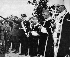 Catholic prelates led by Archbishop Aloysius Stepinac at the funeral of Marko Došen, one of the senior Ustaše leaders, in September 1944