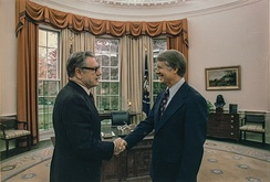 Nelson Rockefeller and President Jimmy Carter in October 1977