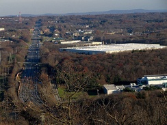 The New York State Thruway (I-87) looking east from Nordkop Mountain in Suffern