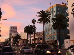 Santa Monica's Ocean Avenue at sunset