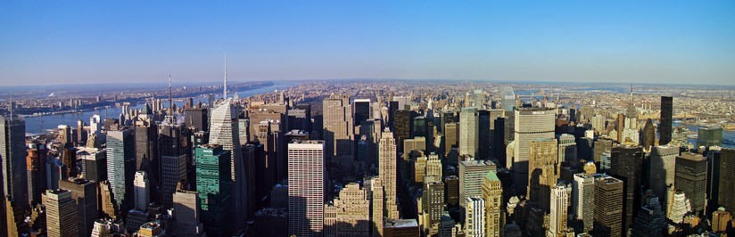 A panoramic view of Midtown Manhattan during midday, taken from the Empire State Building