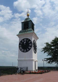 The clock tower, with its hands reversed so fishermen could better see the hour, is one of Novi Sad's major landmarks