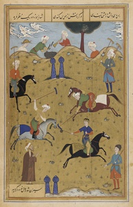 A persian miniature depicting a polo-match