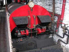 Lancashire boiler built by Tinker, Shenton & Co, Hyde installed at Queen Street Mill Textile Museum, Burnley