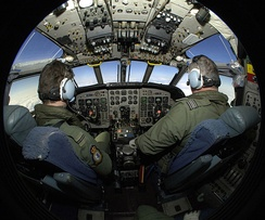 Military aviation training in a Royal Air Force Nimrod aircraft