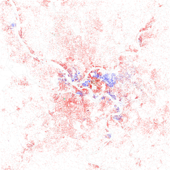 Map of racial distribution in Pittsburgh, 2010 U.S. Census. Each dot is 25 people: White, Black, Asian, Hispanic or  Other