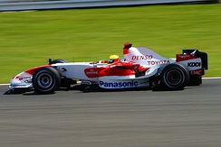 Schumacher driving for Toyota at the 2007 British Grand Prix