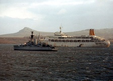 SS Canberra in the Falklands after being requisitioned as a troop ship