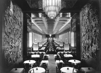 Grand dining room of the ocean liner SS Normandie (1935), bas-reliefs by Raymond Delamarre