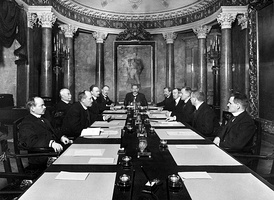 The Finnish Senate of 1917, Prime Minister P. E. Svinhufvud in the head of table. The Senate declared Finland independent on 4th December 1917 and it was confirmed by parliament 6th December 1917[1] which became the Independence Day of Finland.
