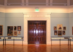 Entrance to the McArthur Gallery on Swanston Street, which was the first permanent home of the collection, now home to the painting collection of the State Library of Victoria.