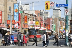 View of Chinatown on Spadina Avenue.
