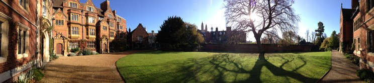 A panoramic view of Latham Lawn and the adjacent buildings