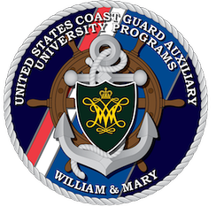 The badge of the U.S. Coast Guard Auxiliary University Programs unit at the College of William and Mary.