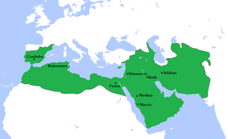 At its greatest extent, the Umayyad Caliphate (661–750) covered 11,100,000 km2 (4,300,000 sq mi)[68] and 62 million people (29% of the world's population),[69] making it one of the largest empires in history in both area and proportion of the world's population. It was also larger than any previous empire in history.