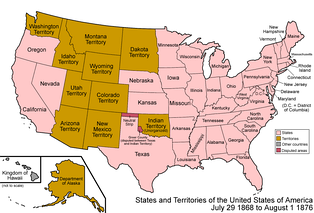 The United States in 1872. When Yellowstone was established, Wyoming, Montana and Idaho were territories, not states. For this reason, the federal government had to assume responsibility for the land, hence the creation of the national park.