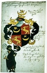"Coat of arms of John Freigraf of ""Lesser Egypt"" (i.e. Romani/gypsy),[35] 18th-century drawing of a 1498 coat of arms in Pforzheim church."