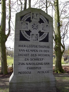 "Monument on Mount Saint Agnes in Zwolle ""Here lived Thomas van Kempen in the service of the Lord and wrote On the Imitation of Christ, 1406–1471"""