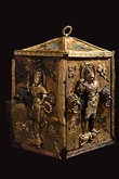 A gilt Buddhist reliquary with decorations of armored guards, from Silla, 7th-century
