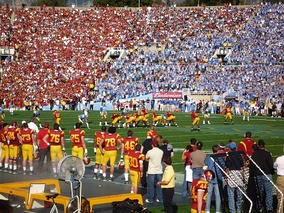 UCLA–USC rivalry football game at the Rose Bowl; the 2008 edition marked a return to the tradition of both teams wearing color jerseys.
