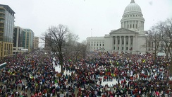 The 2011 Wisconsin Act 10 led to large protests around the state capitol building in Madison.[104]