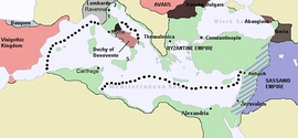 Byzantine Empire (green) by 626 under Heraclius; striped areas are lands still threatened by the Sasanians.