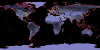Map of the Earth with a six-meter sea level rise represented in red (uniform distribution, actual sea level rise will vary regionally). Hotspots of SLR can divert 3-4 times in the rate of rise, compared to the global average, such as projected for parts of the U.S. East Coast.[1]