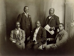 The South African Native National Congress delegation to England, June 1914. Left to right: Thomas Mapike, Rev Walter Rubusana, Rev John Dube, Saul Msane, and Sol Plaatje