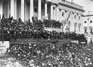 This image of Lincoln delivering his second inaugural address is the most famous photograph of the event. Lincoln stands in the center, with papers in his hand.