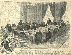 The Berlin Conference (1884) headed by Otto von Bismarck that regulated European colonization in Africa during the New Imperialism period