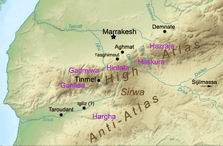 Approximate locations of the main Masmuda tribes that adhered to the Almohads