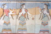 A preserved part of a large mural composition from the Palace of Thebes, circa 14th-13th BC