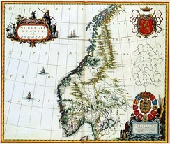 Old map of Norway c. 1660 AD