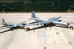 "Arrival of the first B-36A at Carswell ""City of Fort Worth"" (AF Serial No. 44-92015), in June 1948 along with a 7th Bomb Wing B-29."