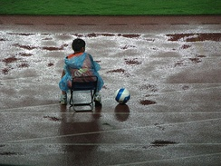 A ball boy at a football match in China in 2007