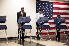 President Obama casts his ballot at the Martin Luther King Jr. Community Center in Chicago.